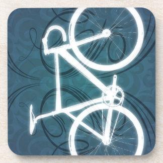 Track Bike - blue tattoo style Beverage Coaster