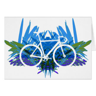 Track Bike on Blue/green Greeting Cards