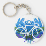 Track Bike on Blue/green Key Chains