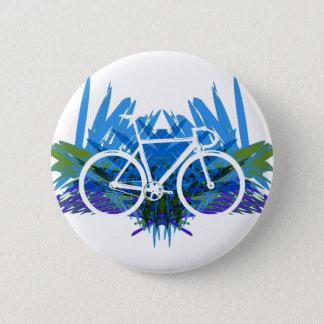 Track Bike on Blue/green Pinback Button