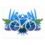 Track Bike on Blue/green Postcard