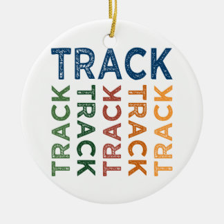 Track Cute Colorful Double-Sided Ceramic Round Christmas Ornament