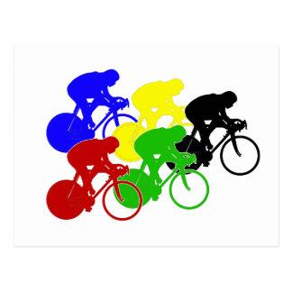 Track Cycling Bicycle Race Bike Riders   Postcard