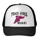 TRACK GIRLS BLACK ON HOT PINK HATS