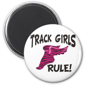 TRACK GIRLS BLACK ON HOT PINK 2 INCH ROUND MAGNET