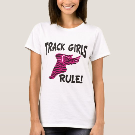 TRACK GIRLS BLACK ON HOT PINK T-Shirt