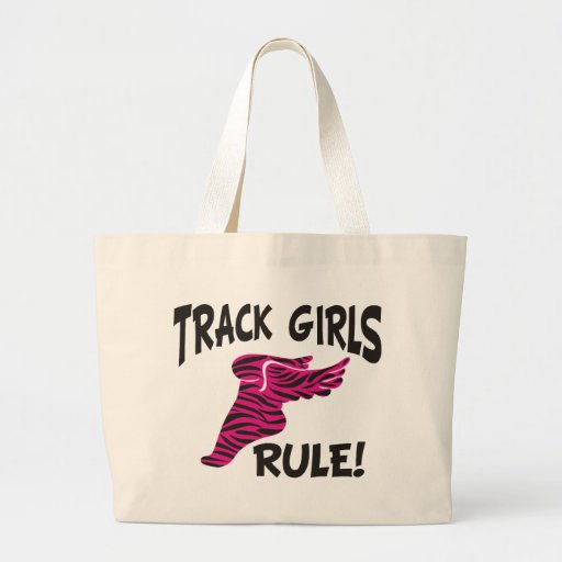 TRACK GIRLS BLACK ON HOT PINK TOTE BAGS