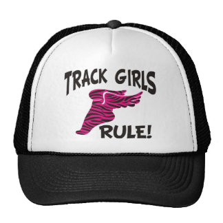 TRACK GIRLS BLACK ON HOT PINK TRUCKER HAT