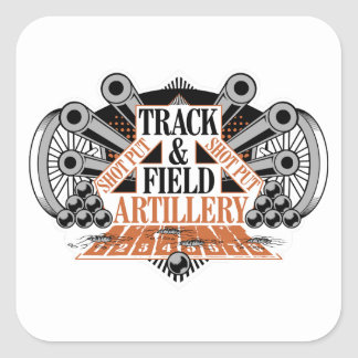 track n field artillery square sticker