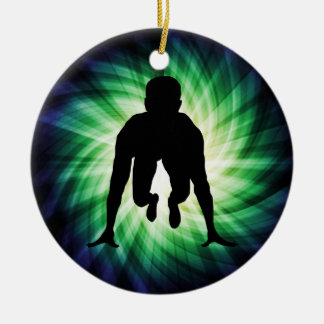 Track Sprinter Double-Sided Ceramic Round Christmas Ornament