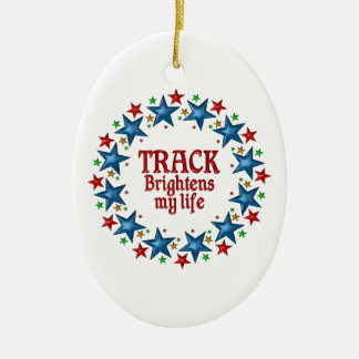 Track Stars Double-Sided Oval Ceramic Christmas Ornament