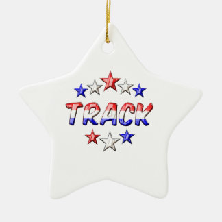 Track Stars Double-Sided Star Ceramic Christmas Ornament