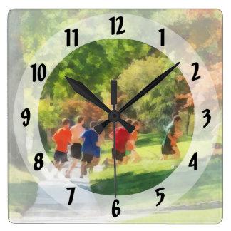 Track Team Square Wall Clock