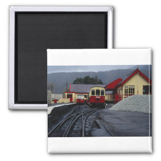 Track view of Snowdon Railway Station, Llanberis, 2 Inch Square Magnet