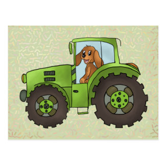 Tracker with dog postcard