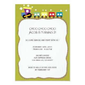Tracks - Kids birthdayparty invites (green)