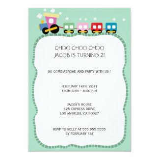 Tracks - Kids birthdayparty invites ( pale green)