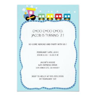 Tracks - Kids birthdayparty invites (sky blue)