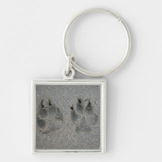 Tracks of dog in sand keychain