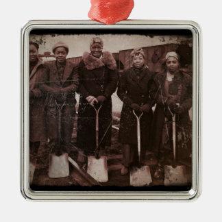 Trackwomen on Railroad WWII Metal Ornament