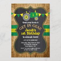 Tractor 1st Birthday Boy Party Green Yellow Invitation