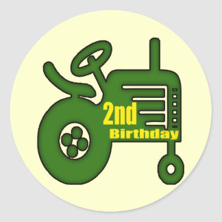 Tractor 2nd Birthday Gifts Classic Round Sticker