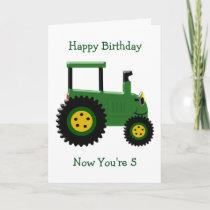 Tractor 5th Birthday Card
