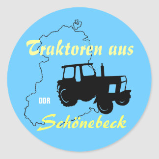 Tractor advertising Design GDR Classic Round Sticker