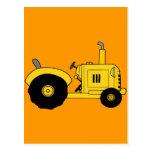 Tractor amarillo tarjetas postales
