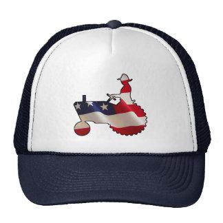 Tractor americano orgulloso de la bandera de los E Gorras De Camionero
