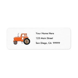 Tractor anaranjado brillante etiqueta de remite