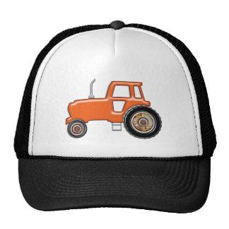 Tractor anaranjado brillante gorro de camionero