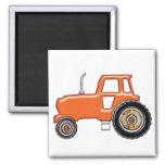 Tractor anaranjado brillante iman