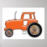 Tractor anaranjado brillante impresiones
