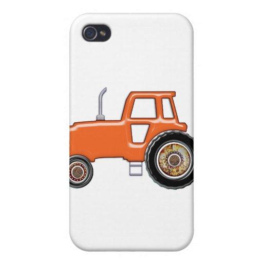 Tractor anaranjado brillante iPhone 4 fundas