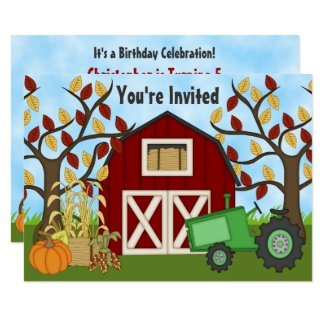 Tractor and Barn Autumn Farm Birthday Invitation