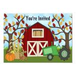 "Tractor and Barn Autumn Farm Birthday Invitation 4.5"" X 6.25"" Invitation Card"