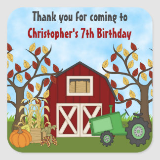 Tractor and Barn Autumn Thanks Birthday Stickers