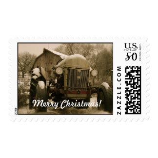 Tractor and barn Christmas stamp