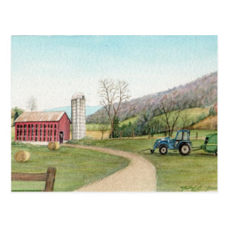 Tractor and Hay Bailer Postcard