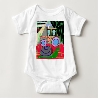 Tractor and snail baby bodysuit