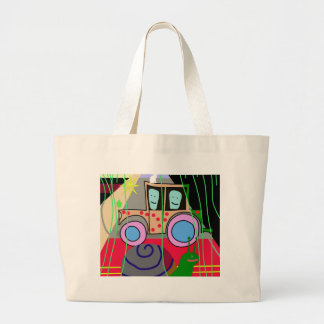 Tractor and snail large tote bag