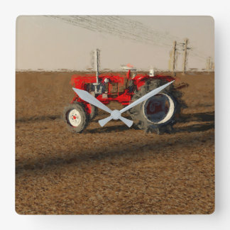 Tractor and territories of farming square wall clock