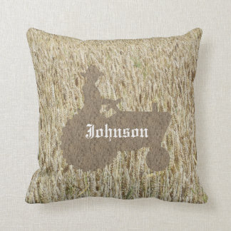 Tractor And Wheat Field Monogramed Throw Pillow