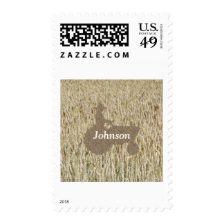 Tractor And Wheat Postage Stamps