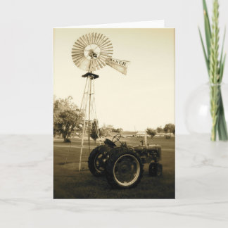 Tractor and Windmill Note Card