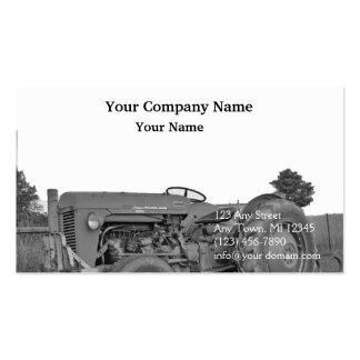 Tractor antiguo en blanco y negro tarjetas de visita