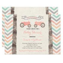 Tractor Aqua Coral Gray Girl Baby Shower Invitation
