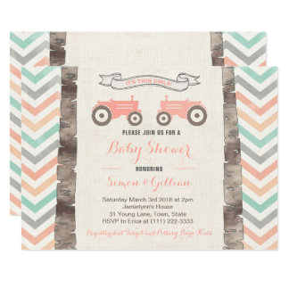 Tractor Aqua Coral Gray Girl Baby Shower Invitation