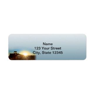 Tractor at Sunrise on a Blue Gradie Return Address Label